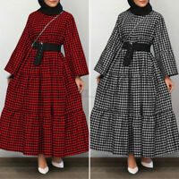UK Womens Long Sleeve Check Tiered Layered Casual Loose Abaya Kaftan Maxi Dress