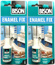 2 x Bison Enamel Fix Repair Kit White Touch Up Paint Fixchip On Bath Sink 20ml