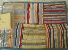 New Pottery Barn Kids BLUE Bright Striped PATCHWORK Small SHAM stripe red