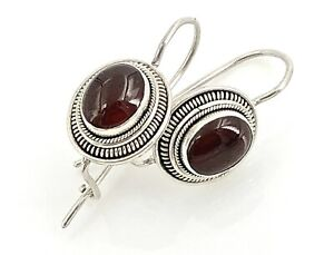 Rope Trimmed Sterling Silver Carnelian Cabochon Latching Wire Earrings, Vintage