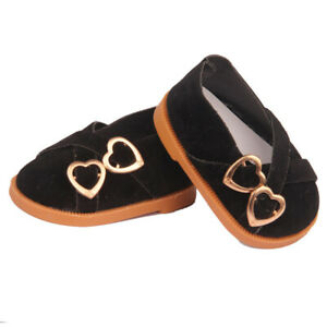 Black Double Heart Shoes Fits 18 Inch American Girl Dolls-Kennedy and Friends