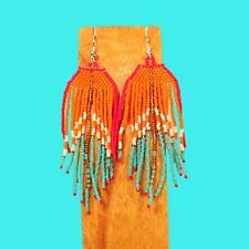 "3"" LONG Handmade Orange Multi Color Chandelier Boho  Dangle Seed Bead Earring"