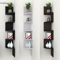 Corner Shelf 5 Tier/3 in 1 Wall Mount Unit Home Floating Storage Zig Zag Shelves