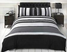 Striped Duvet Quilt Cover Bedding Grey Set Black And White Bed Linen Boys Mens