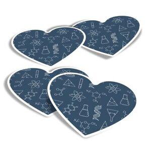 4x Heart Stickers - Chemistry Fridge Geek  #13001