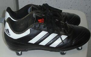 JUNIOR ADIDAS SCREW IN STUDS FOOTBALL BOOTS UK 1 EUR 33 BLACK WHITE SOCCER