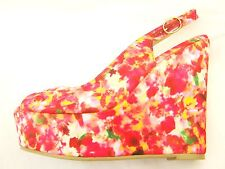 Cerise Pink floral High Wedge Heel Peep Toe Platform Shoes sizes 5 or 6  Holiday