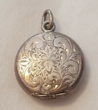 Antique Signed Sterling Silver Round Pill Box Snuff Locket Pendant w/ Etched Lid
