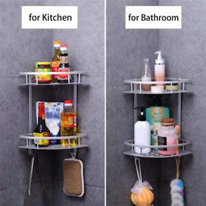 2 Tier Shower Corner Rack Shelf Bathroom Kitchen Storage Organiser