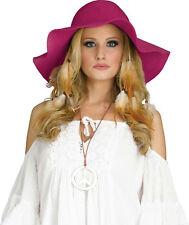 fd1c3136d7e94 60s 70s Hippie Womens Summertime Red Raspberry Burgundy Felt Floppy Costume  Hat