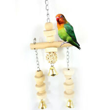 BIRDS PARROT CAGE WOODEN BEAD CYLINDER SWING HANGING BELL CHEWING PET TOY _GG