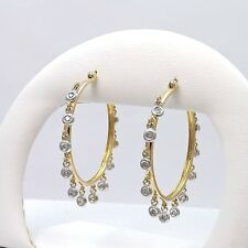New 14k Gold JCR John Rinker .66ctw Diamond Dangle Cha Cha Hoop Earrings