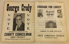 2 VINTAGE WORTHINGTON INDIANA POSTERS: GEORGE CRODY  & FIRST CHRISTIAN CHURCH