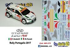 DECAL  1/43 -  HYUNDAI i20  R5  - ANDOLFI  - Rally  PORTOGALLO  2017