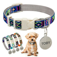 Nylon Dog Collar & Personalized Round Dog Tags Quick Buckle Puppy Custom Collar