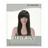 """Ladies 25"""" LONG BLACK WIG Straight Hair Fancy Dress Cos Play Party Wear NEW"""