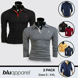 Mens Long Sleeve 2 Pack Polo Black White Navy Grey S M L XL XXL Collared