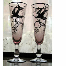 More details for an unusual pair of friendship champagne flutes decorated with birds