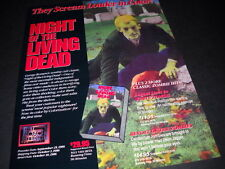 NIGHT OF THE LIVING DEAD screams louder in color 1986 Promo Only Display Advt