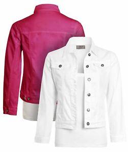 Girls Denim Jacket White Cerise Pink Childrens Age 4 5 7 8 9 10 12 14 15 Years