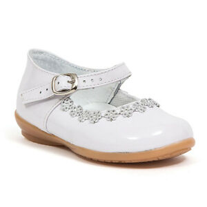 Baby Girl White shiny dress shoes with Buckle & rhinestone Design Size 3 to 12