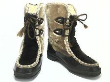 SNOWLAND WOMEN'S BOOTS Shoes Rubber Brown Faux Fur VTG 70's Winter US 7 EU 37. 5