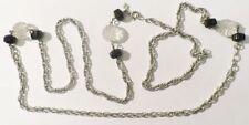 collier sautoir bijou vintage signé maille fantaisie perle gravé relief * 3681