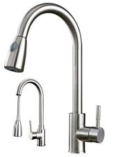 Brushed Steel Modern Kitchen Sink Mixer Taps Pull Out Faucet Tap
