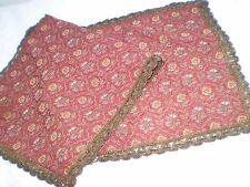 Vintage  beautiful red  tablecloth metal thread