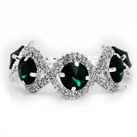 Silver Emerald Green Rhinestones Shiny Bracelet Bridal Costume Jewellery BB151