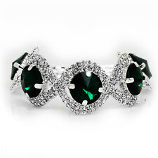 Silver Emerald Green Rhinestones Shiny Bracelet Bridal Christmas Jewellery BB151