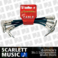 6 X Australasian 6 Inch Black Patch Lead Cable Right Angle, Pedal Boards