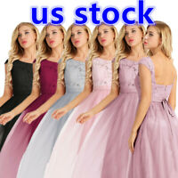 Womens Tulle Lace Evening Party Formal Gown Wedding Bridesmaid Maxi Long Dress