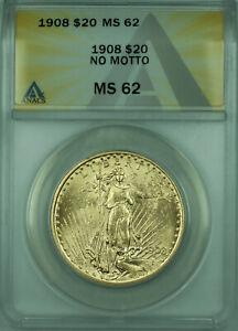 1908 No Motto St. Gaudens $20 Double Eagle Gold Coin ANACS MS-62