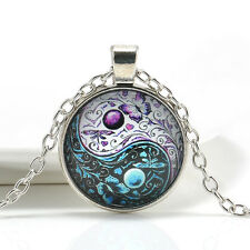 Vintage Ying Yang Butterfly Cabochon Glass Silver Chain Pendant Necklace Jewelry