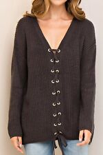 ENTRO LONG SLEEVE LACE UP FRONT V-NECK KNIT SWEATER~GREY~MEDIUM~2018~BEST SELLER