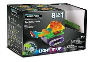 Laser Pegs Construction 8-in-1 Tank Runner Building Light-up Brick Set For Kids