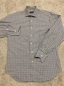 Canali Mens White Blue Red Checkered Long Sleeve Button up size 39 15.5