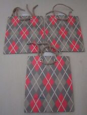 Lot of 3 Argyle Diamond Pattern Hallmark Expressions Gift Bags Olive Green 1950s