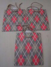 Lot de 3 Argile Motif Diamant Hallmark Expressions Cadeau Sacs Vert Olive 1950s
