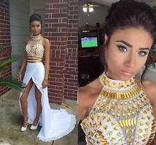 White and Gold Two Piece Prom Dresses Long Slit Formal Party Cocktail Ball Gowns