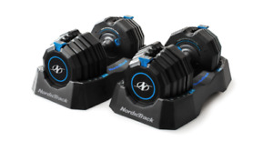 NordicTrack Adjustable Dumbbells with Storage Tray -55lb PAIR Compare to Bowflex