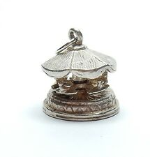 VINTAGE 925 Argento Sterling NUVO SPINNING GIOSTRE CAROUSEL Charm 3.4g