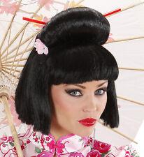 GEISHA WIG W/ FLOWER & CHOPSTICK Accessory for Oriental Japanese Dancer Singer