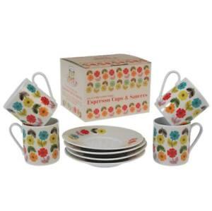 Set of 4, Mid-Century, Poppy Espresso Cups & Saucers