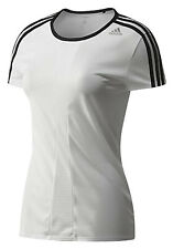 Adidas Womens White Fitness T-Shirt Sports Running Gym Lightweight Climacool