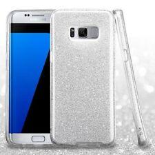 For Samsung Galaxy S8 Plus Silver Hard TPU Hybrid Glitter Skin Case Cover