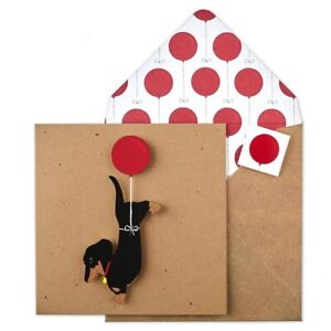 Tache Dachshund with Balloon Happy Birthday Card - Eco Friendly Kraft Cards