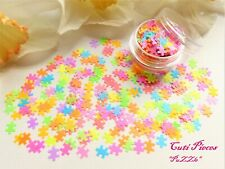 3D Nail Art *PuZZle* Mixed Neon Jigsaw Shaped Pieces Matte Spangle Glitter Pot