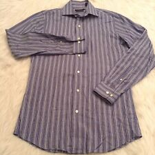 Marc Anthony Mens Shirt Size 14 1/2 Blue Stripe Slim Fit Long Sleeve (BG)